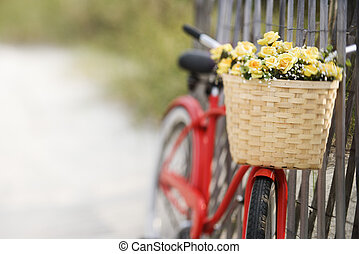 Bike with flowers.