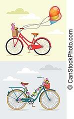 Bike with flowers set
