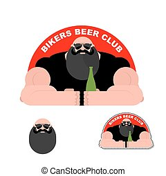 biker., あごひげを生やしている, 強力, jacket., 残忍である, ロゴ, club., 人, ビール, 革, バイカー