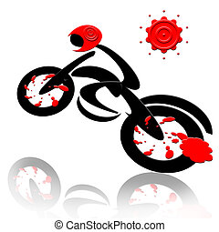 Biker - Abstract extreme sports speed biker and sun isolated...