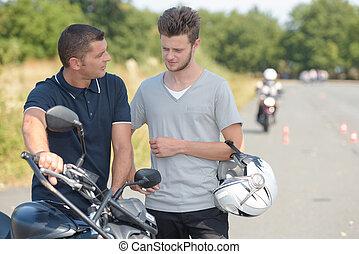 biker after motorcycle ride
