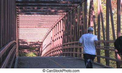 Biker and Jogger on Bridge - A bicyclist and jogger make...