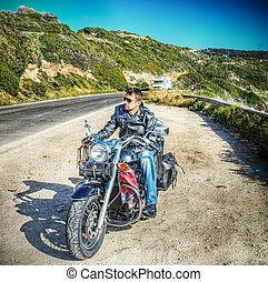 biker and motorcycle in hdr