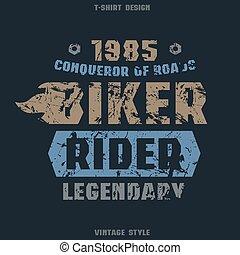 Biker badge with texture