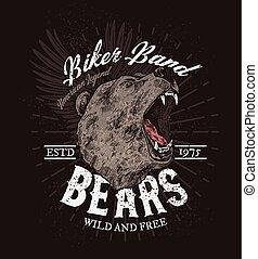Biker band club badge, roaring wild bear