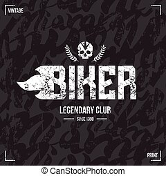 Biker club emblem and seamless pattern