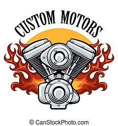 Biker club emblem with pistons in flame