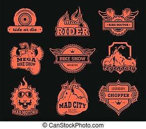 Biker club logos set