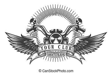 Biker Club Retro Emblem - Vintage motorcycle club emblem. ...
