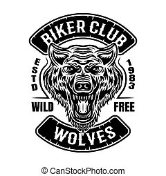 Biker club vector patch or emblem with wolf head