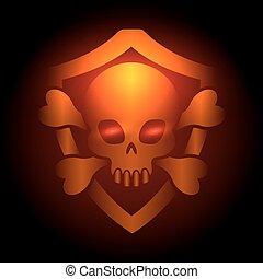 biker, clube, cartaz, com, cranio, emblema