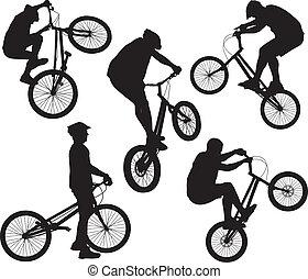 biker, conjunto, siluetas
