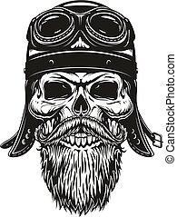 biker, cráneo, casco, bosquejo, anteojos