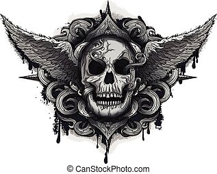 biker, cráneo, grunge