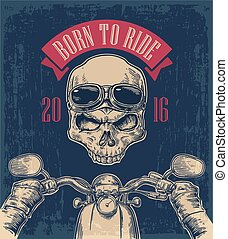 Biker driving a motorcycle rides and skull with glasses....
