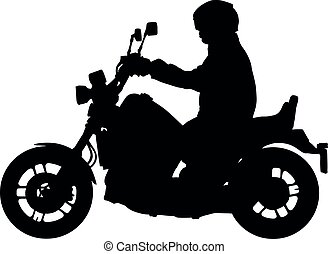Biker driving a motorcycle vector silhouette, motorcyclist illustration