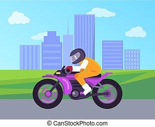 Biker Driving on Cute Motorbike Cityscape Vector