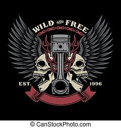 biker, emblema, cranio, ilustração