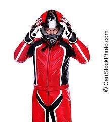 biker, en, rojo, equipo, tenencia, el suyo, casco, aislado,...