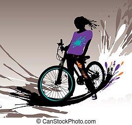 Biker girl silhouette.