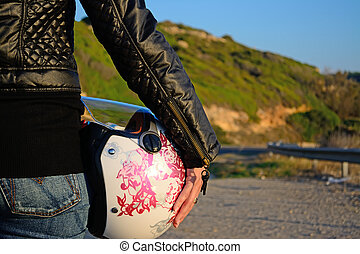 biker girl with helmet