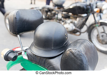 biker helmet on a motorcycle