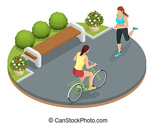 Biker in park, woman running Cycling on bike path. Weekend...