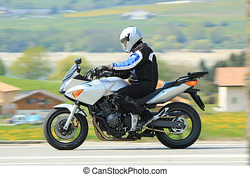 Biker in the countryside