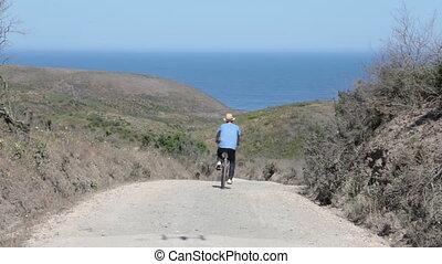 biker, jeżdżenie na rowerze, droga, brud
