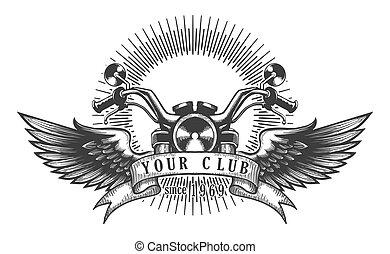 biker, klub, retro, emblemat