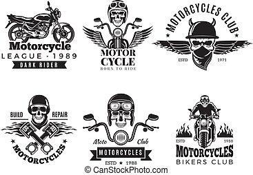 Biker labels. Vintage custom motorcycle and symbols for badges skull bike flags wheel bones engine fire vector road concept