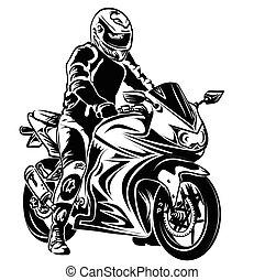 biker, ligado, motocicleta