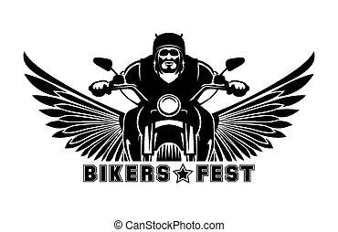 Biker logo. Bike emblem, motor and race, symbol motorcycle,...