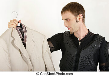 biker looking to a business suit and considering a style ...