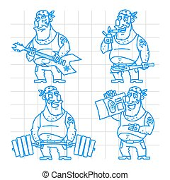 Biker man doodle concept set 2