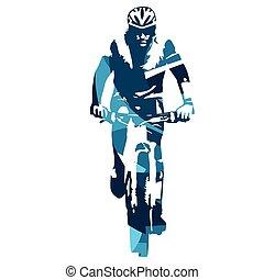 biker montanha, frente, vista., abstratos, azul, vetorial, ilustração