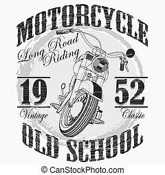 biker, motocicleta, deporte, moda, emblema, tipografía