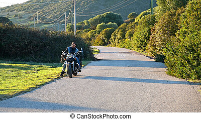 Biker on a classic motorcycle