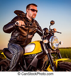 Biker on a motorcycle