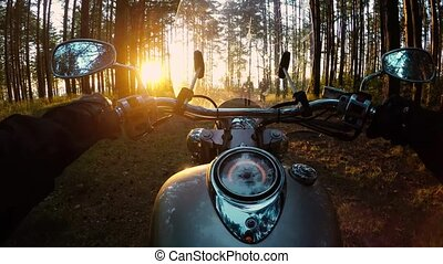 Biker on a motorcycle in the forest. POV video