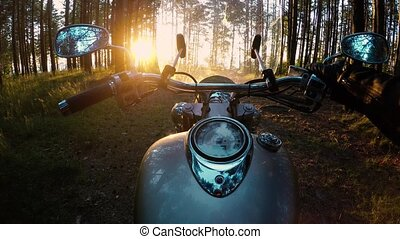 Biker on a motorcycle in the forest