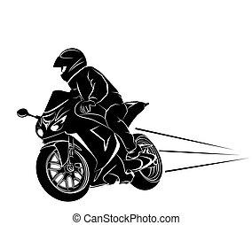 Biker on a sportbike - Vector illustration of a biker on a...