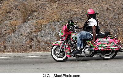 Biker on freeway