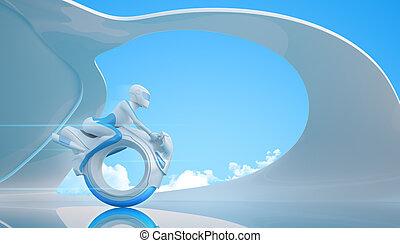Biker on futuristic mono wheel bike
