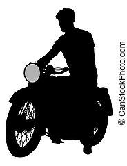 Biker on motorcycle four