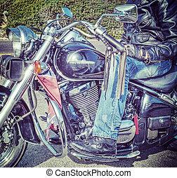 biker on motorcycle in hdr