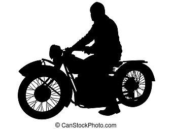 Biker on motorcycle one