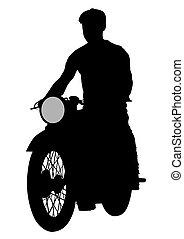 Biker on motorcycle three