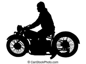 Biker on motorcycle two