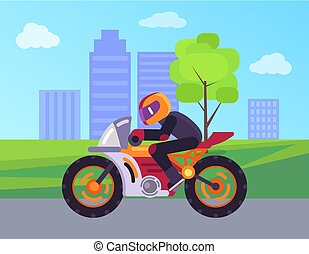 Biker on Street Motorbike Riding on Road Cityscape